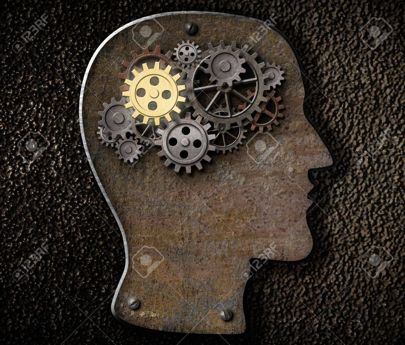 Brain mechanism gears and cogs made from rusty metal Stock Photo - 21151637