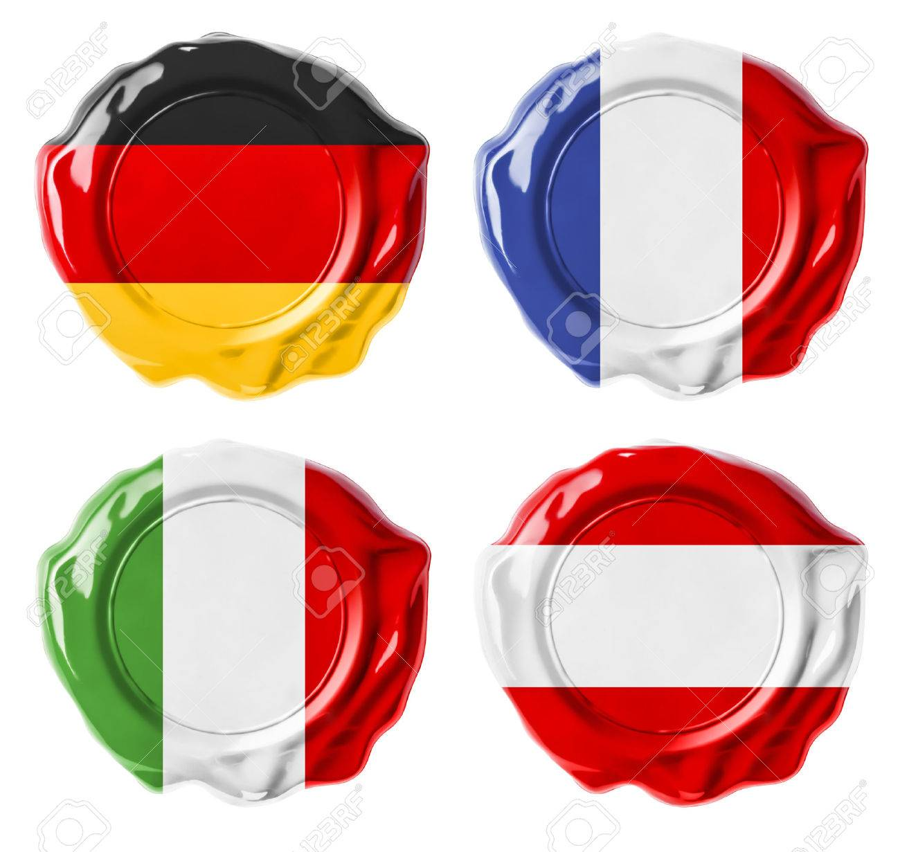 Germany, France, Italy, Austria national flag wax seals set isolated on white Stock Photo - 22217269