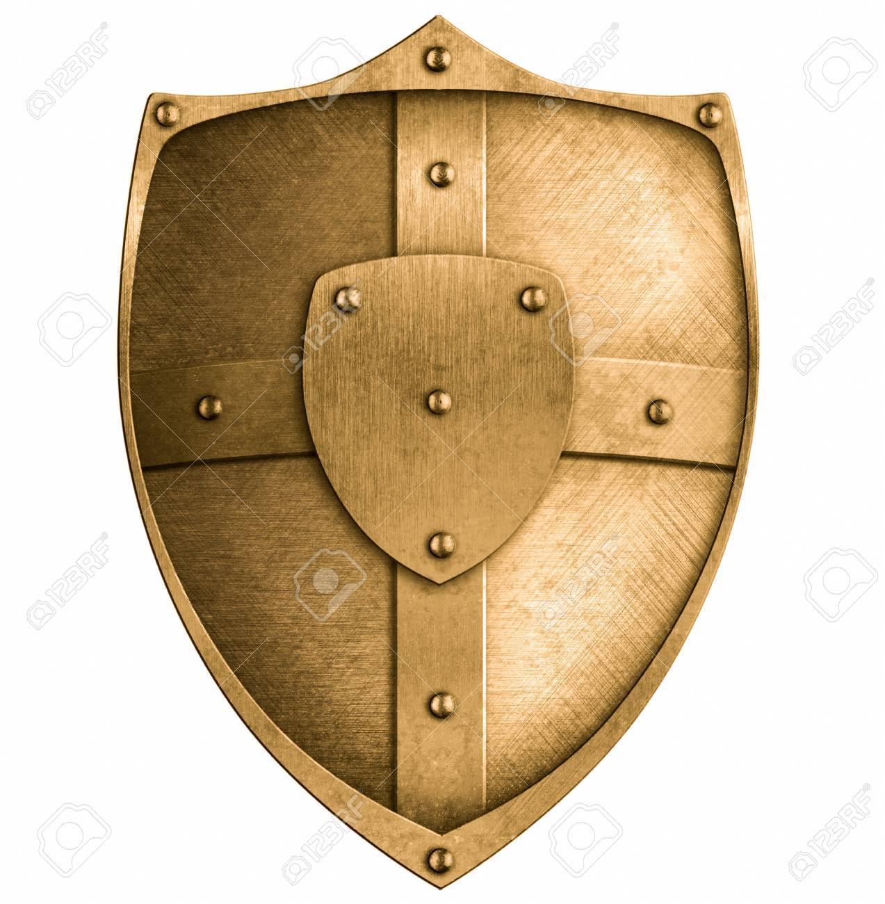 bronze metal shield isolated on white Stock Photo - 22217279