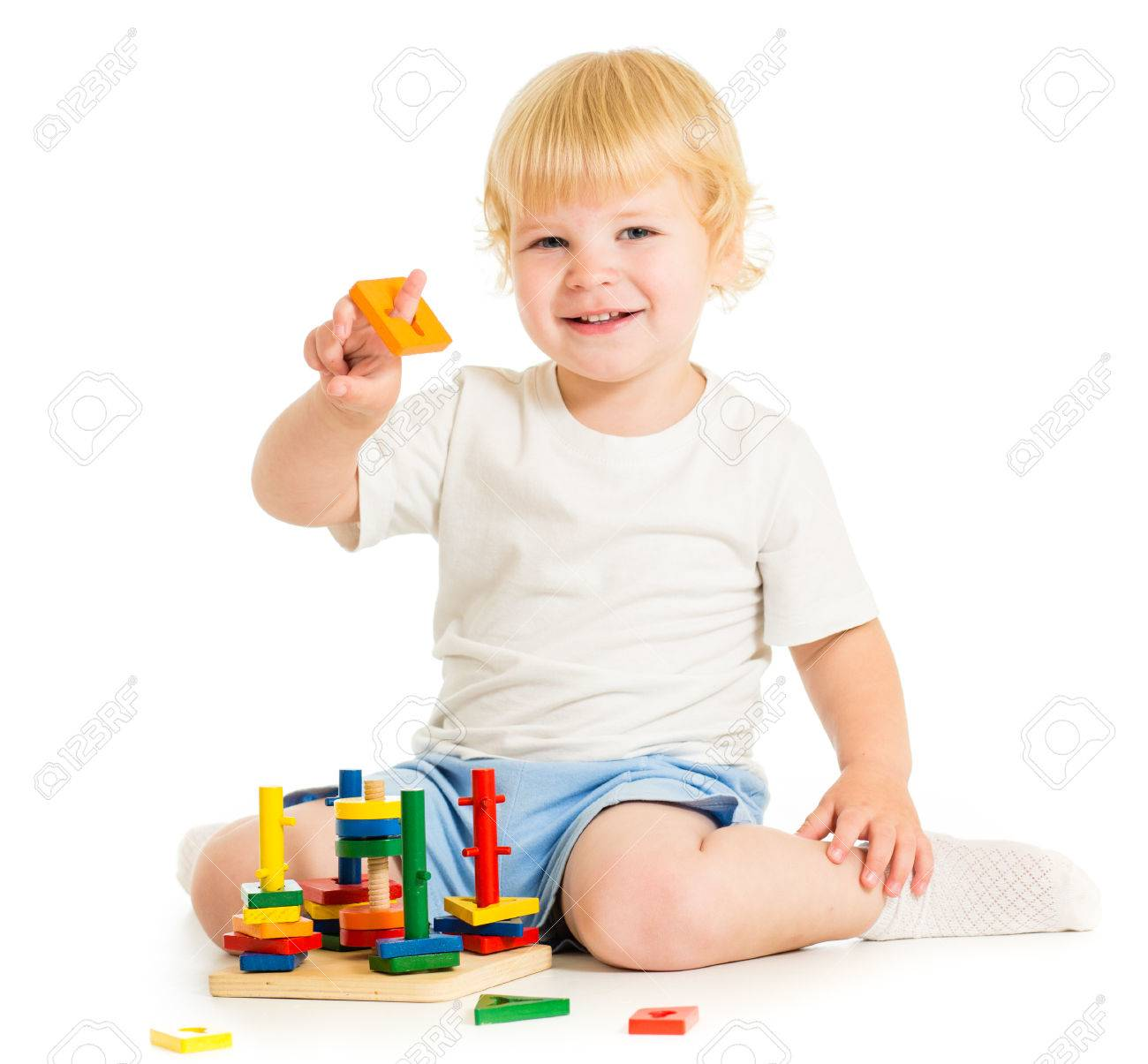 happy kid playing education toys Stock Photo - 22244424