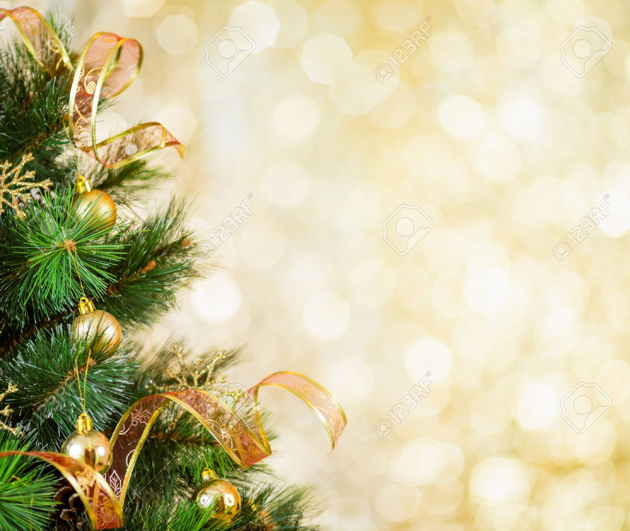 Christmas Tree Backgrounds.Golden Christmas Tree Background