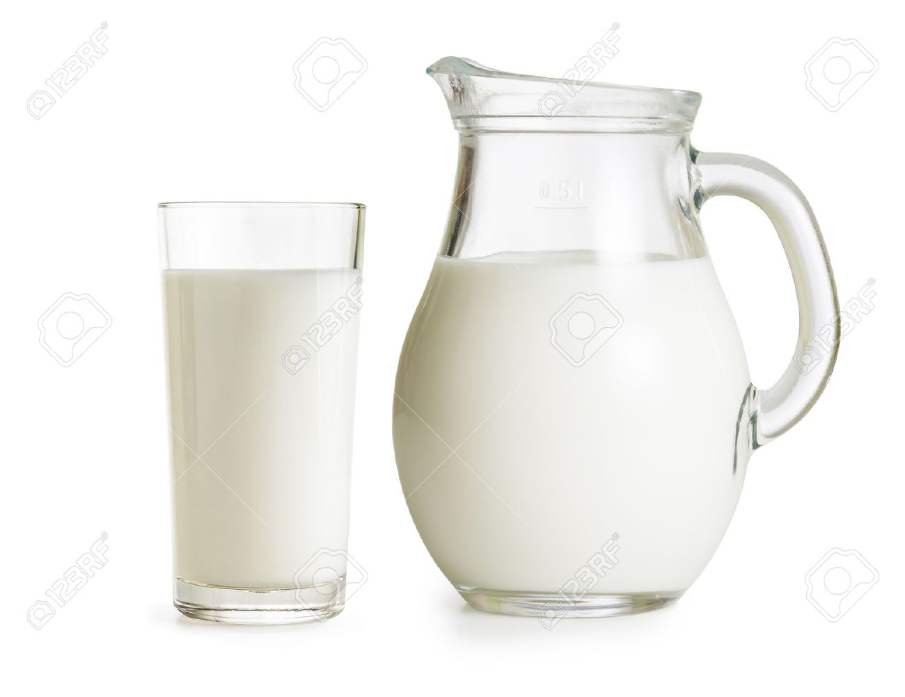 Milchkännchen Glas jug and glass on white background stock photo picture and