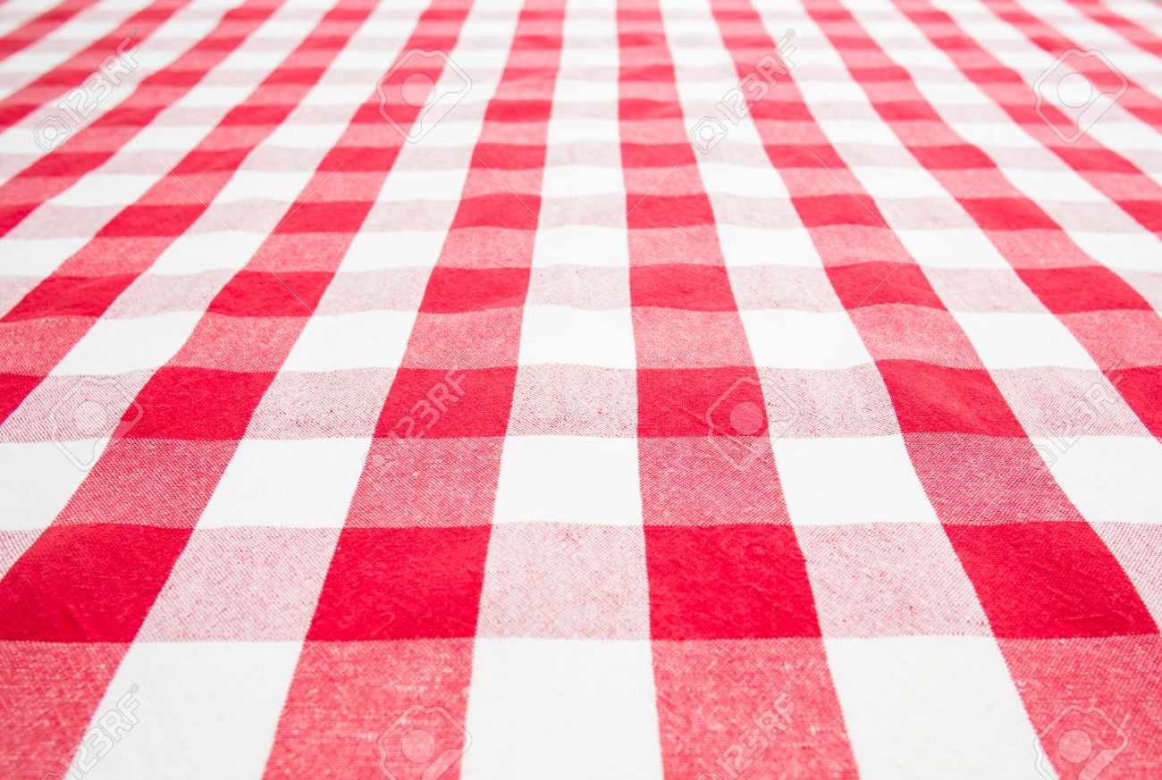 Empty Table Top View Covered By Red Gingham Tablecloth Stock Photo    22861033