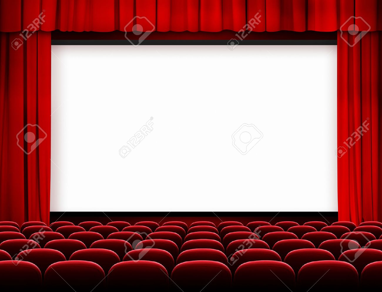 Cinema Screen With Red Curtains And Seats Stock Photo   22861135