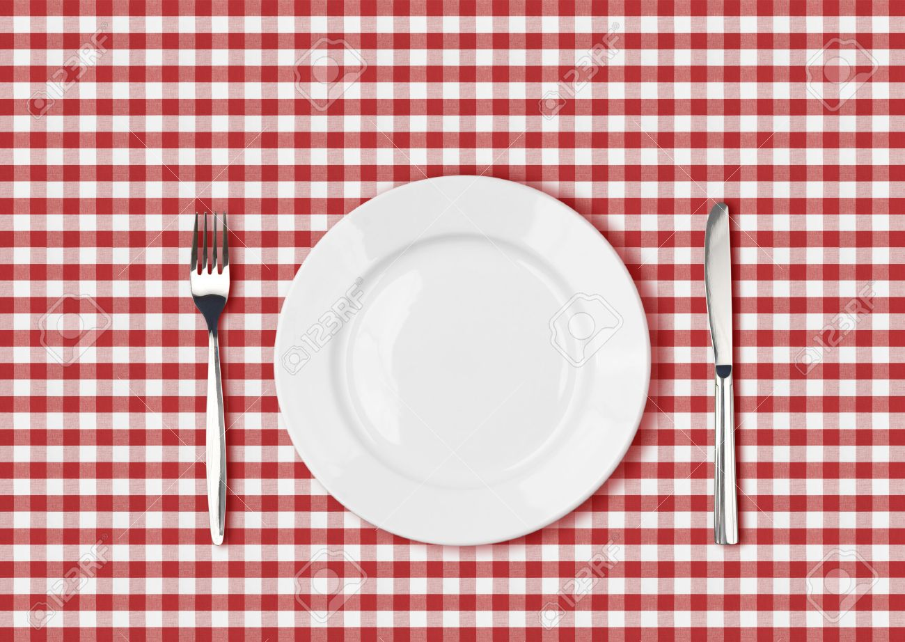 Outstanding Knife White Plate And Fork On Red Picnic Table Cloth Download Free Architecture Designs Grimeyleaguecom