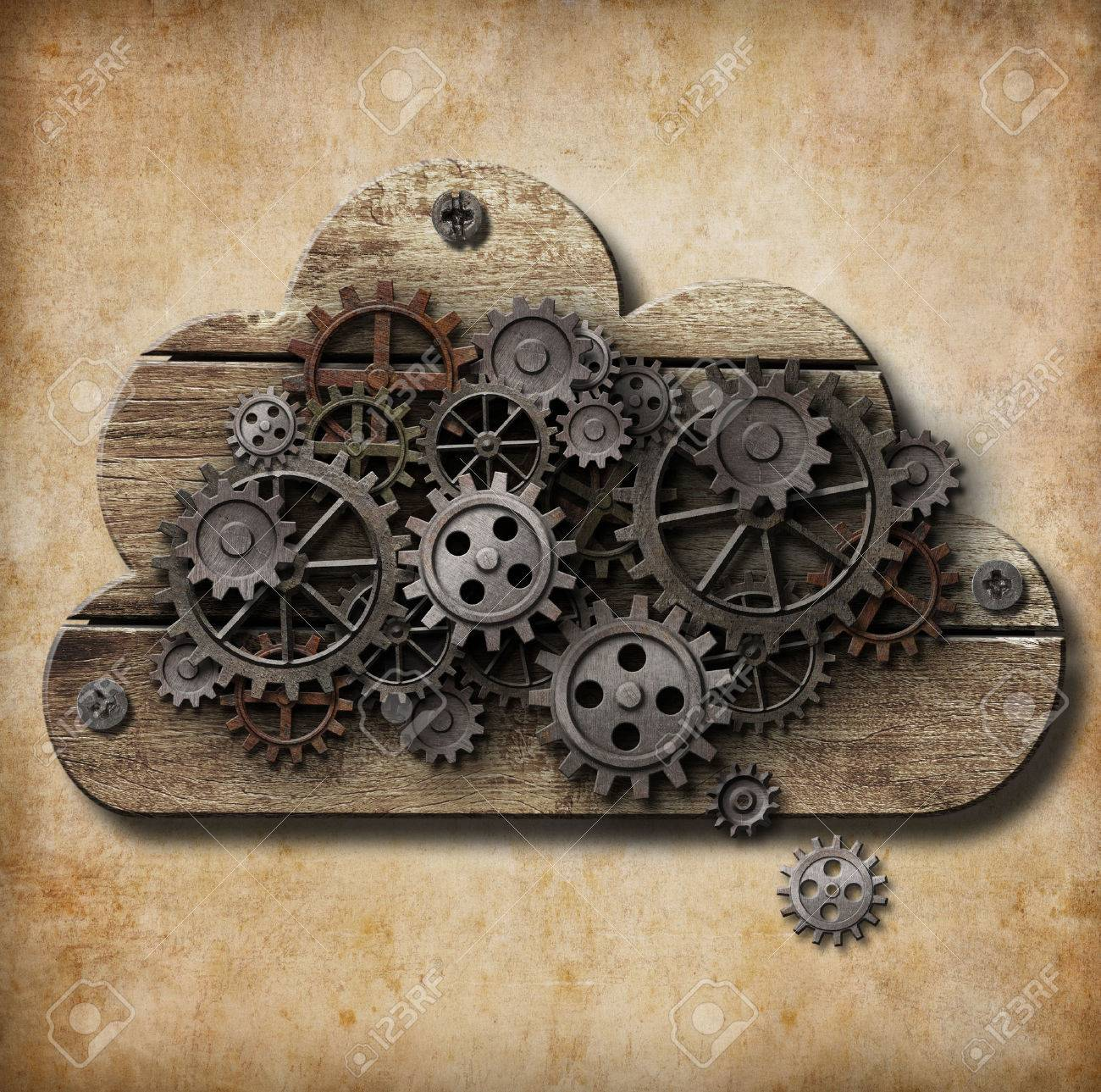 wooden cloud with rusty gears attached to grunge background Stock Photo - 22861194