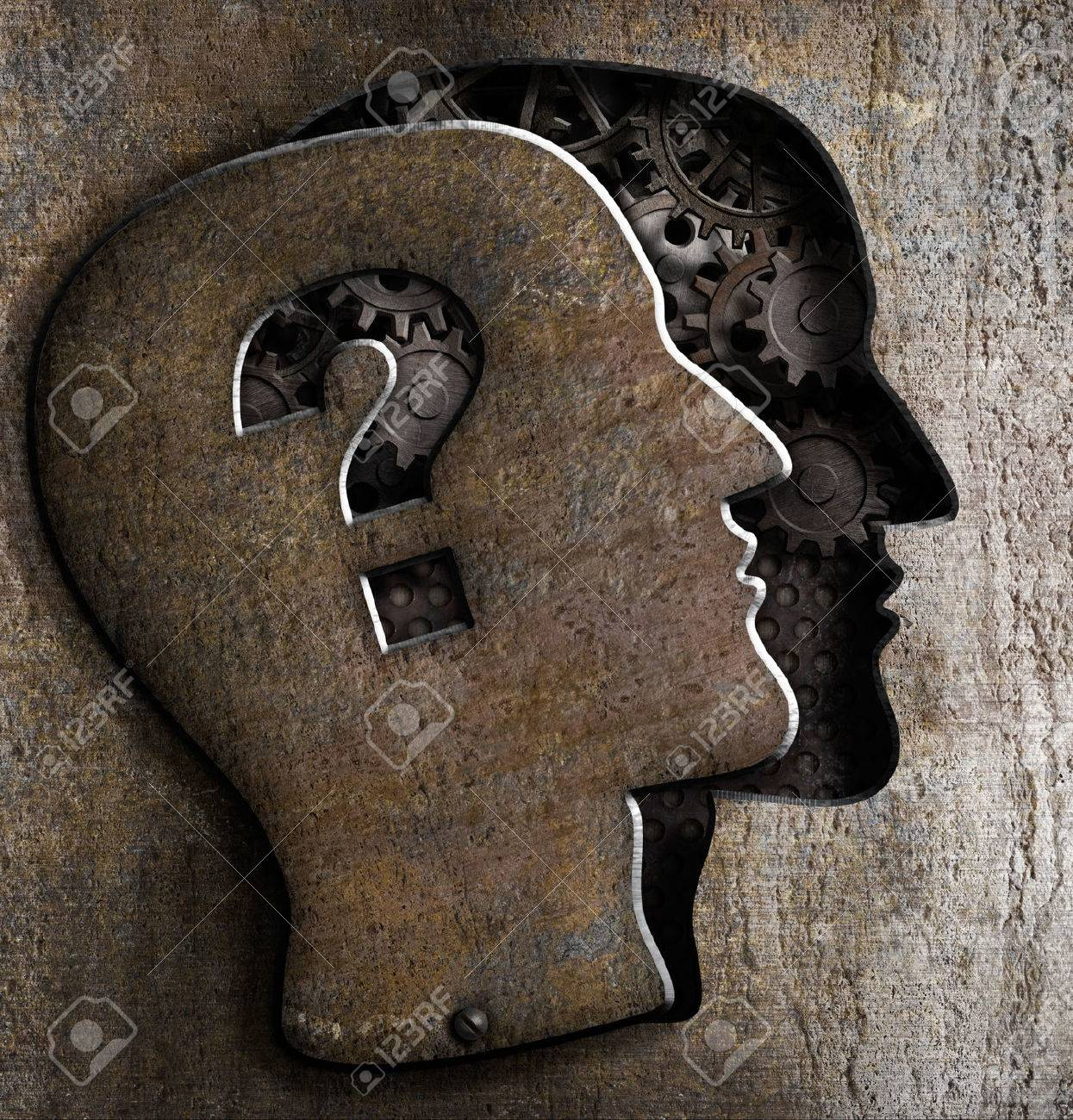 Human brain open with question mark on metal lid Stock Photo - 23118750