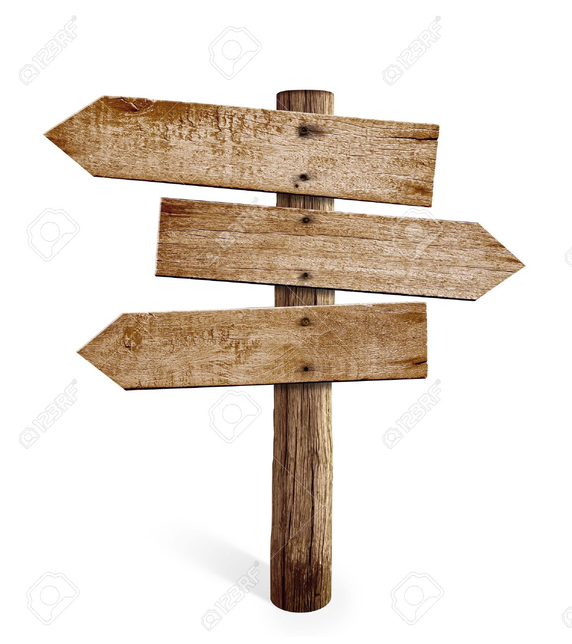 wooden arrow sign post or road signpost isolated stock photo