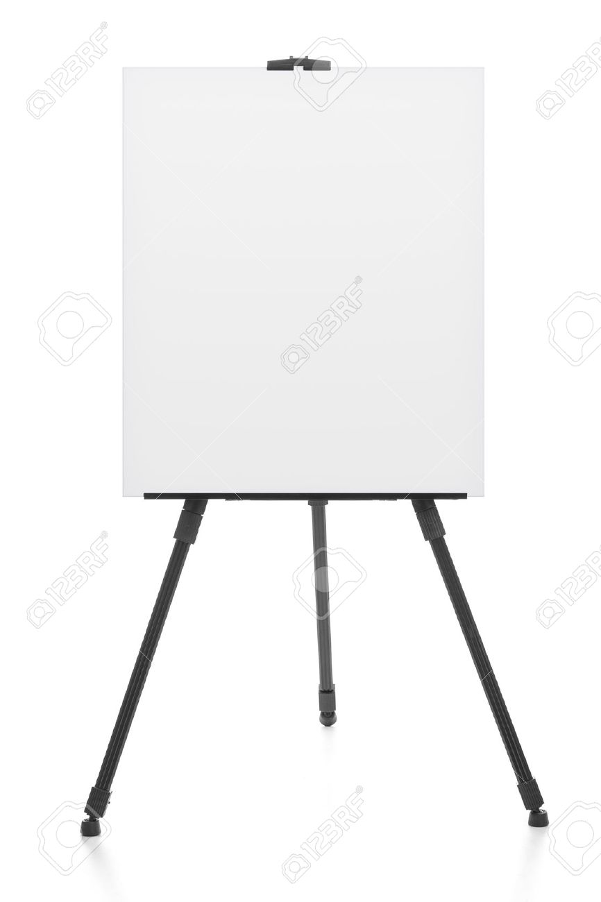 advertising stand or flipchart or blank artist easel isolated