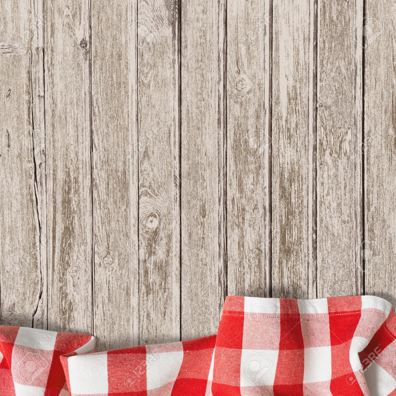 Wooden dining table background - Dining Table Top View Old Wooden Table With Red Picnic Tablecloth Background