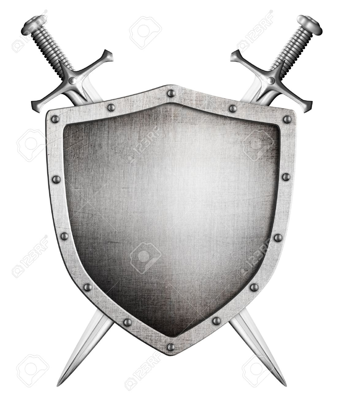 metal medieval shield and crossed swords behind it isolated on