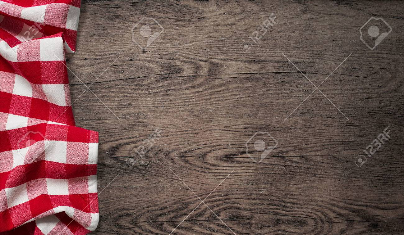 Old wooden table top - Stock Photo Picnic Tablecloth On Old Wooden Table Top View