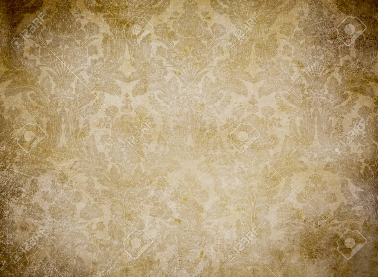 Grunge Vintage Wallpaper With Classy Pattern Stock Photo Picture