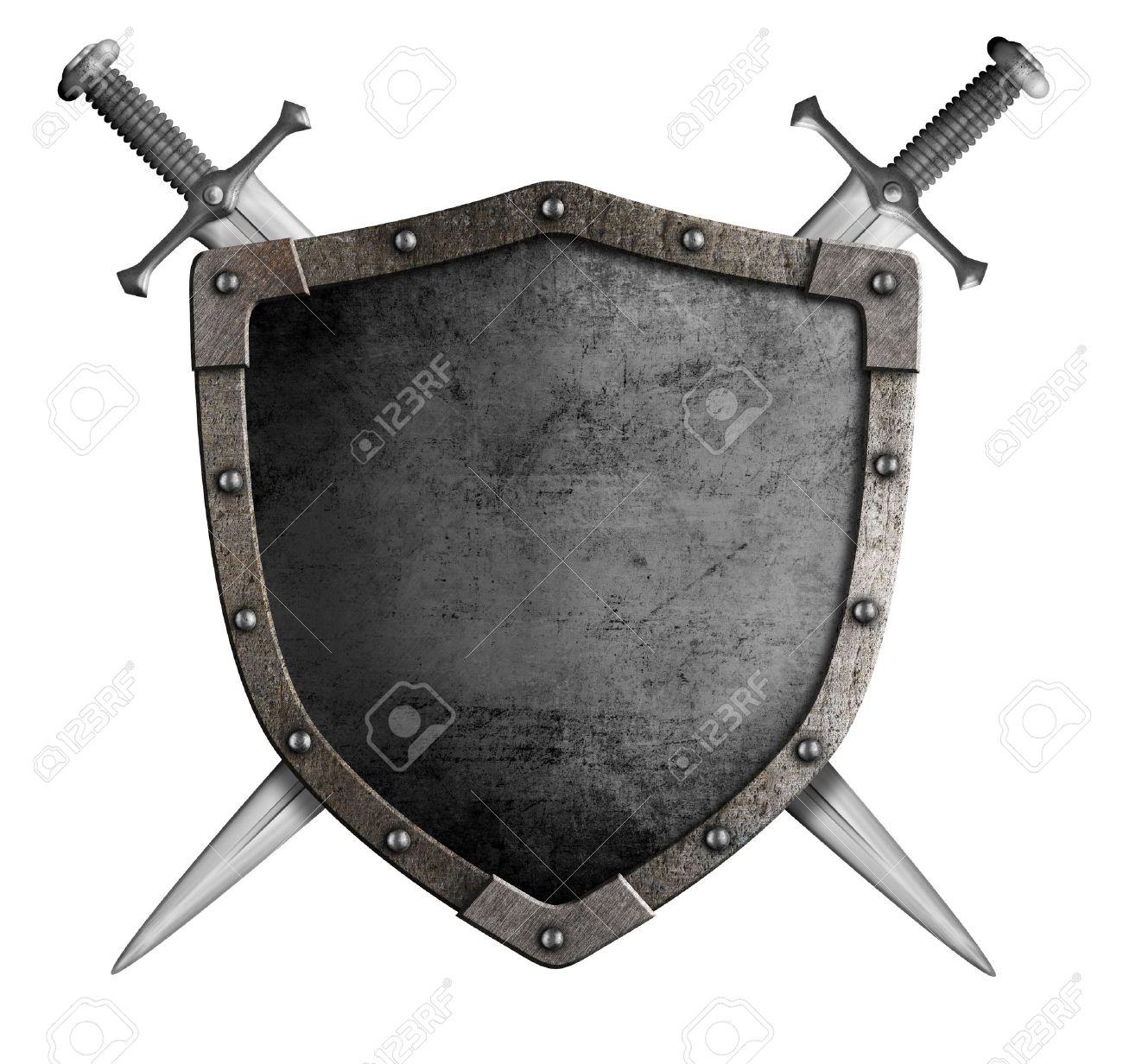 紋章の中世の騎士の盾と剣白で隔...