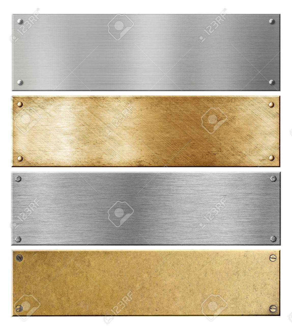 Silver And Brass Metal Plates Or Plaques With Rivets Set Stock Photo ...