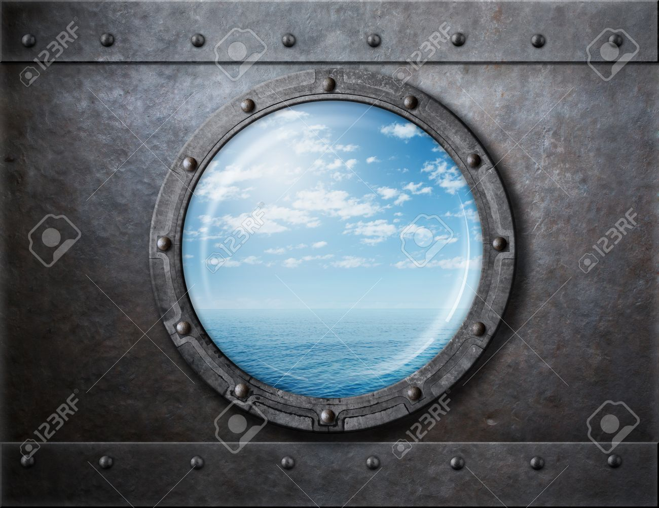 Blick aus dem fenster meer  Rostige Alte Schiff Bullauge Oder Fenster Mit Blick Aufs Meer Und ...