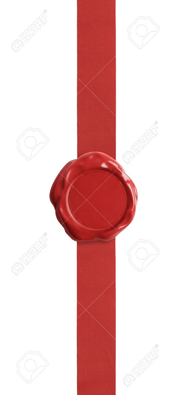red wax seal with ribbon certificate isolated on white stock photo