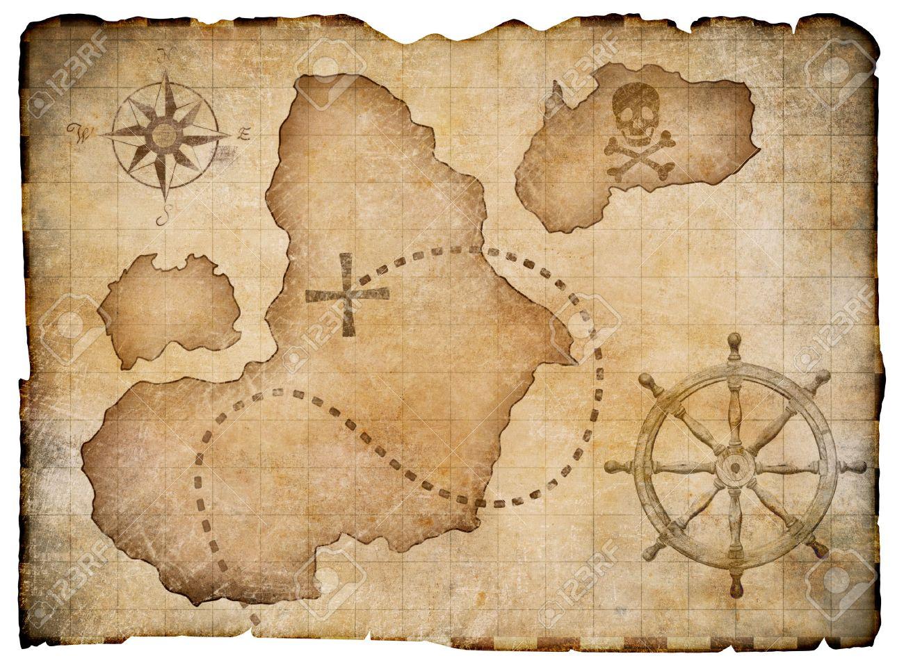 Carte Au Tresor Pirate.Vieux Parchemin Pirates Carte Au Tresor Isole Chemin De Detourage Inclus