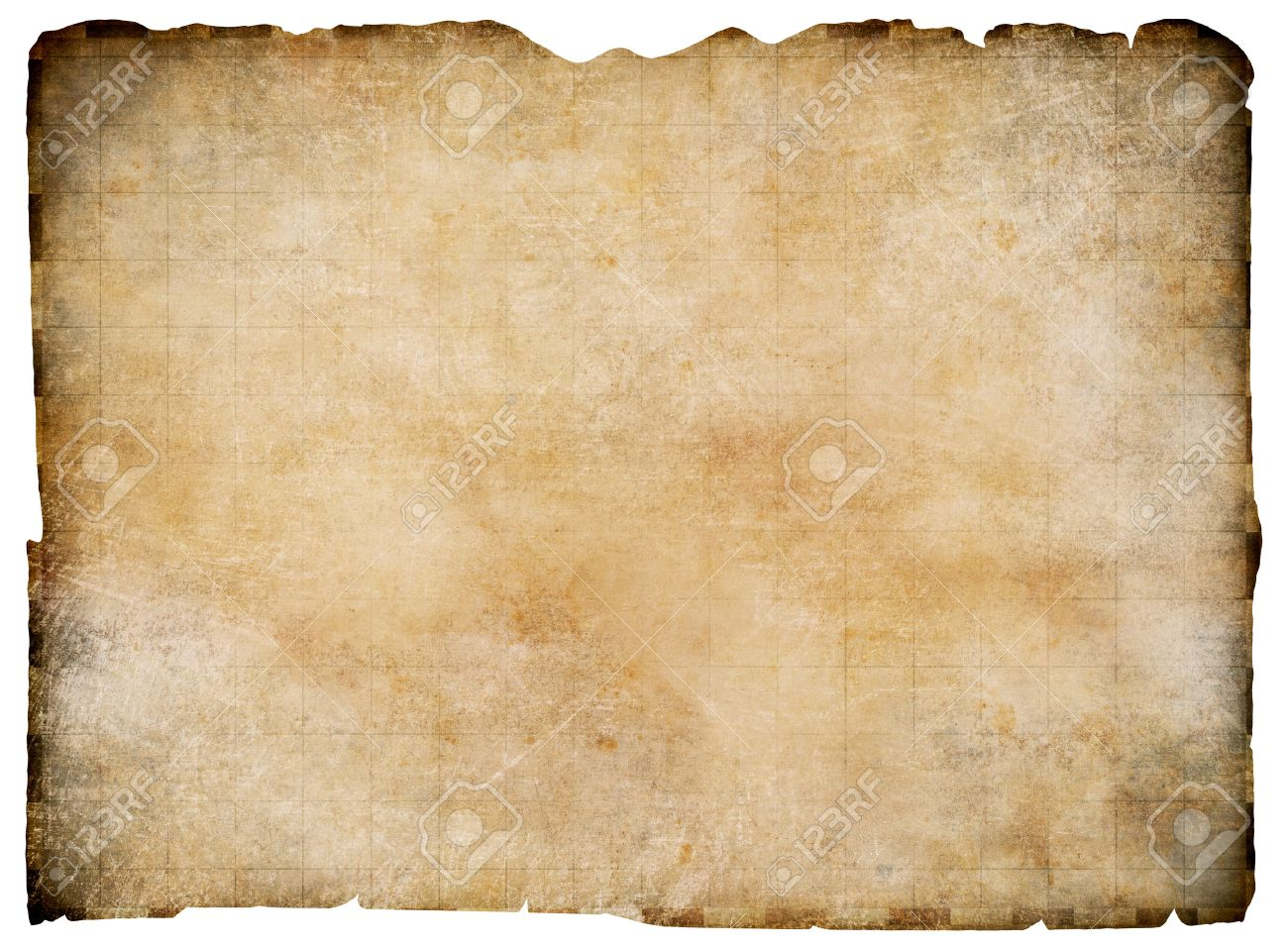 Old Blank Parchment Treasure Map Isolated Clipping Path Is Included Stock Photo