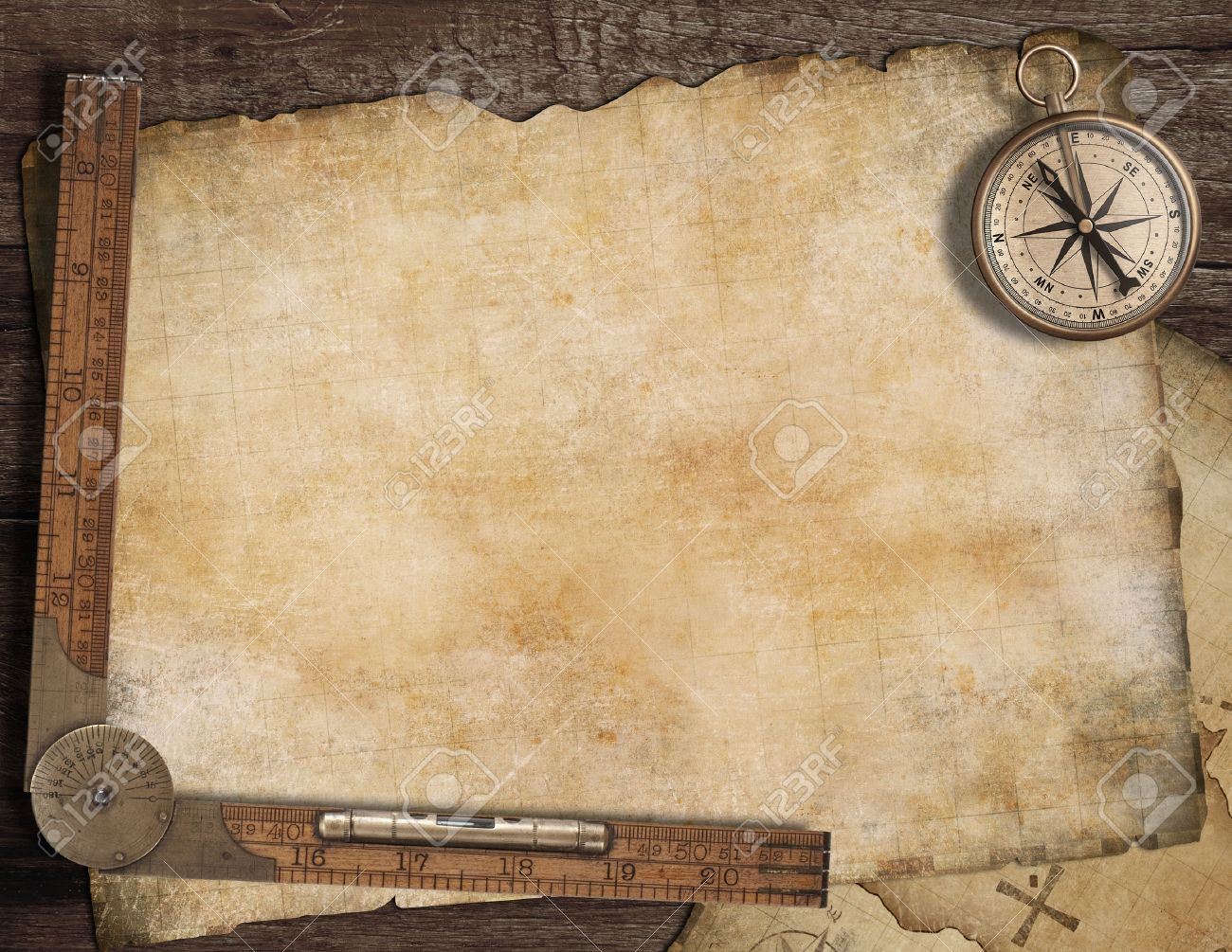 Blank Treasure Map Blank Treasure Map Background With, Old Compass And Ruler
