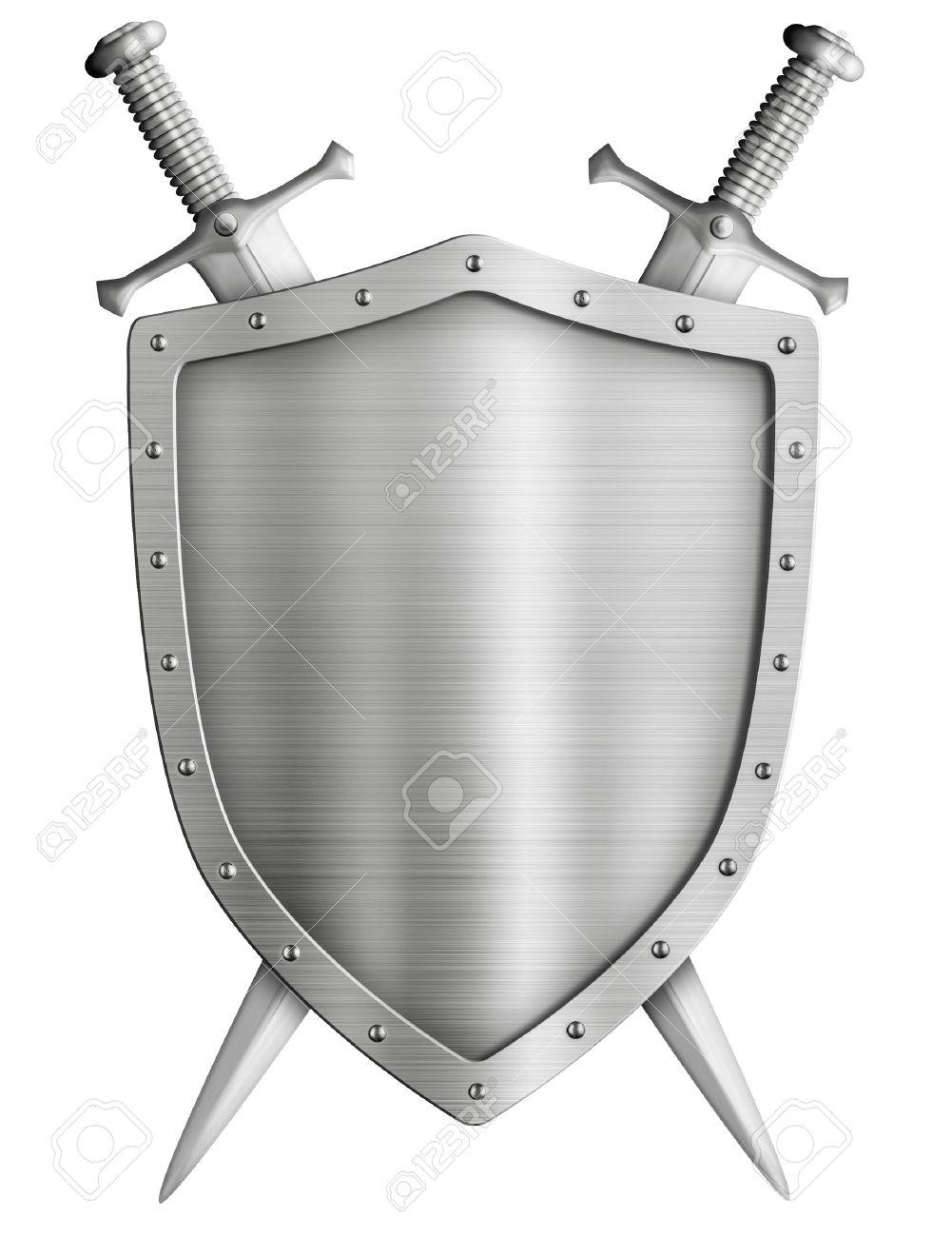 紋章付き外衣中世騎士盾と交差し...