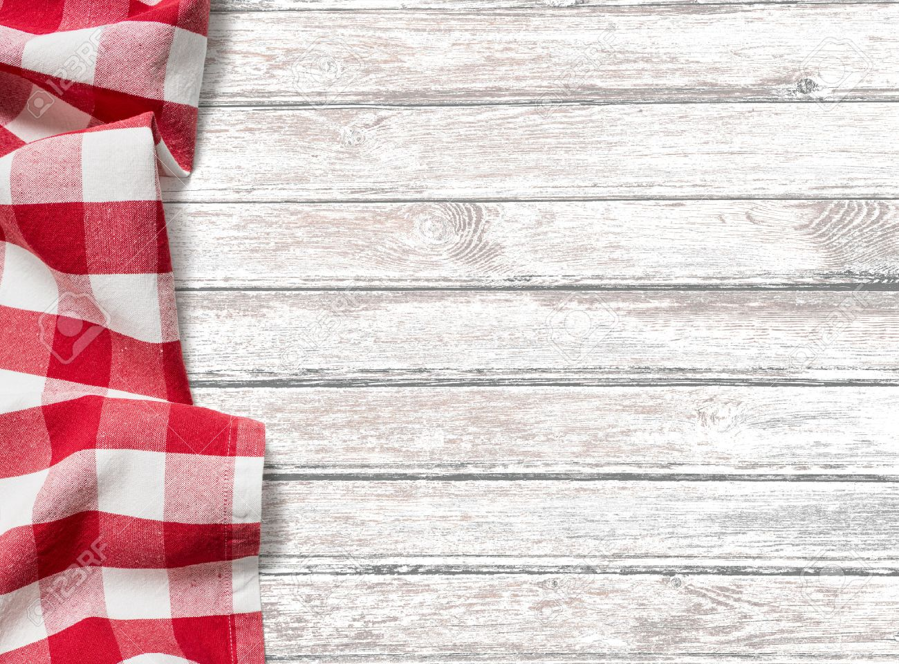 kitchen table background with red picnic cloth stock photo picture