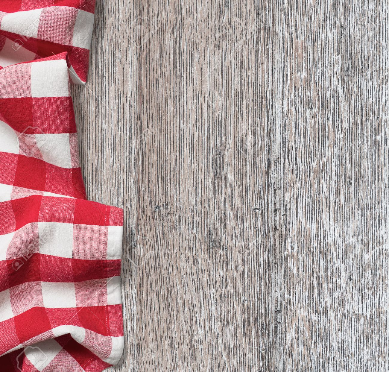 Kitchen Table Background rough wood kitchen table with red picnic cloth background stock