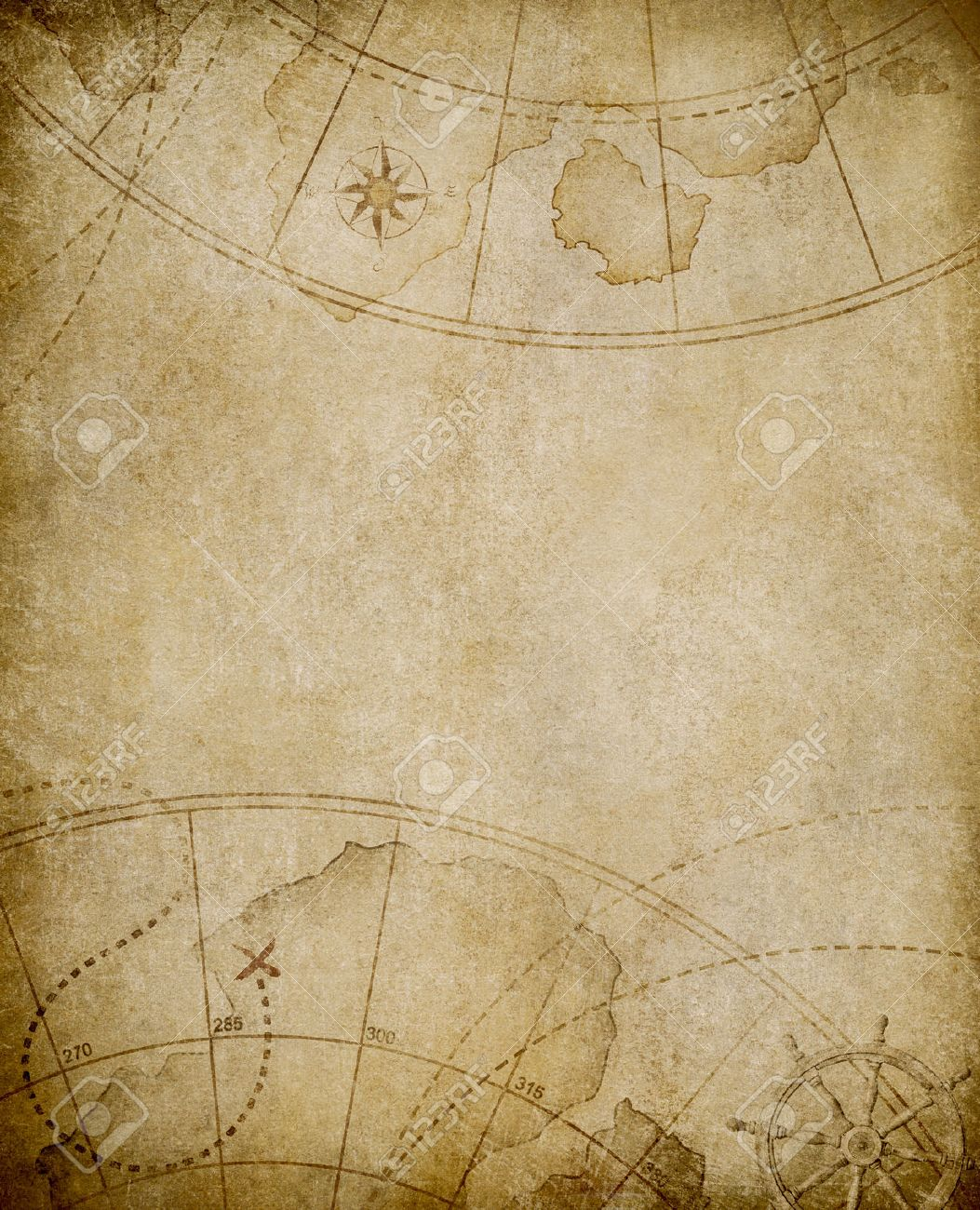 Aged Nautical Map Background With Copyspace Stock Photo, Picture