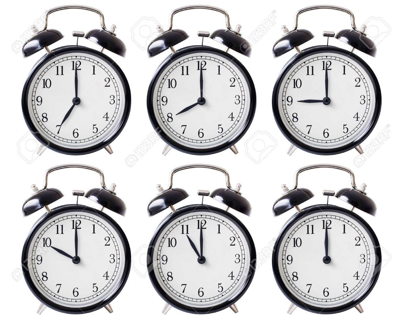 Simple Alarm Clock Set With Hands From 7 To 12 Oclock Isolated