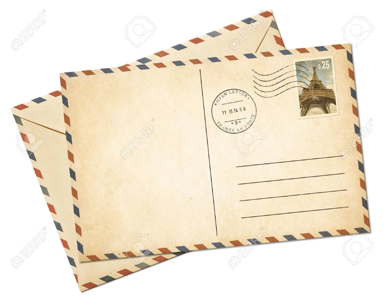 Blank par avion postcard template and envelope isolated on white - 47431854