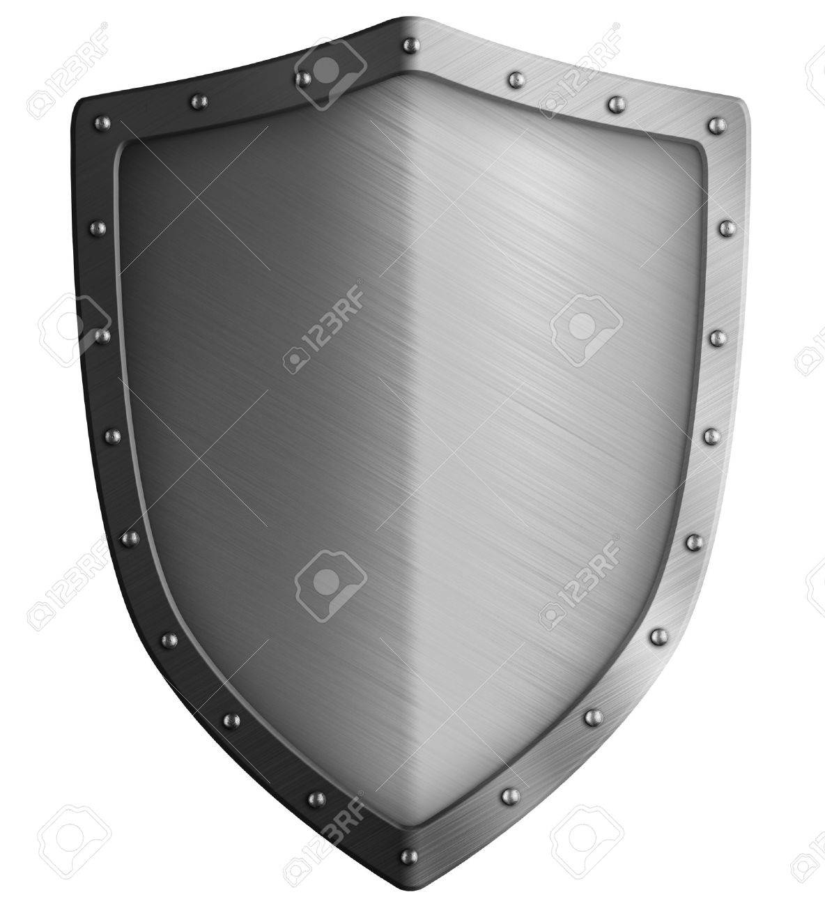 Big metal shield isolated on white 3d illustration - 56494757