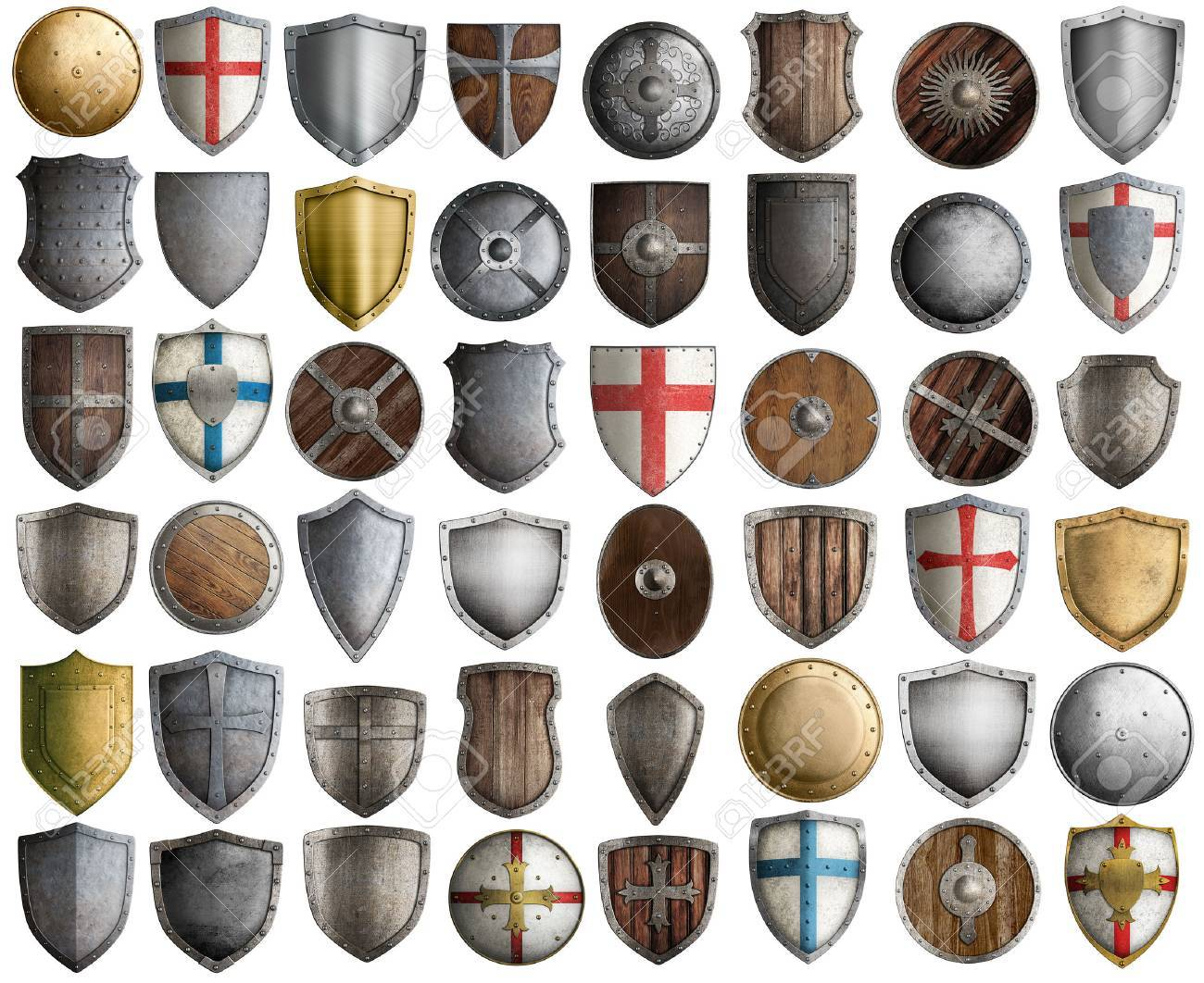 medieval knight shields big set 3d illustration isolated on white - 56494760