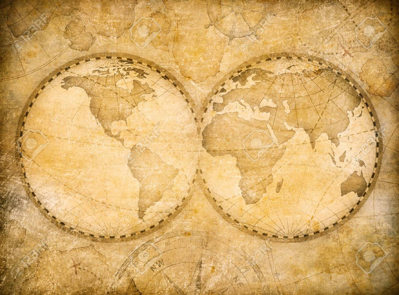 old world map vintage stylization based on image furnished by NASA - 57346328