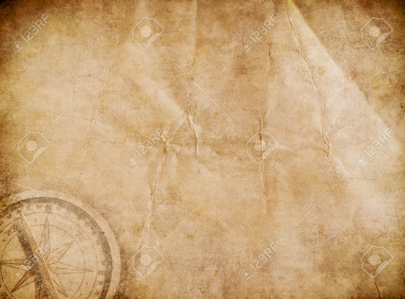 Aged Pirates Map Background. Old Treasure Map. Stock Photo, Picture on