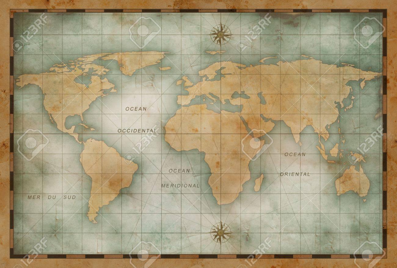 old nautical world map background - 70058734