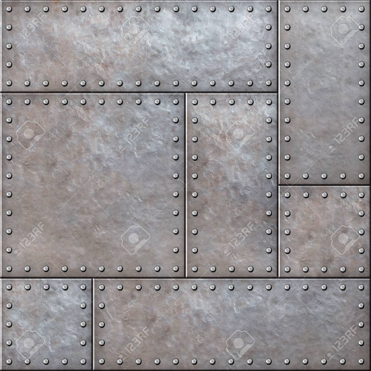 Old Rustic Metal Plates With Rivets Seamless Background Or Texture Stock Photo