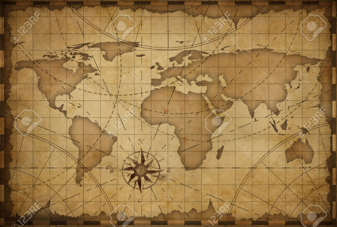Old Nautical Vintage World Map Theme Background Stock Photo