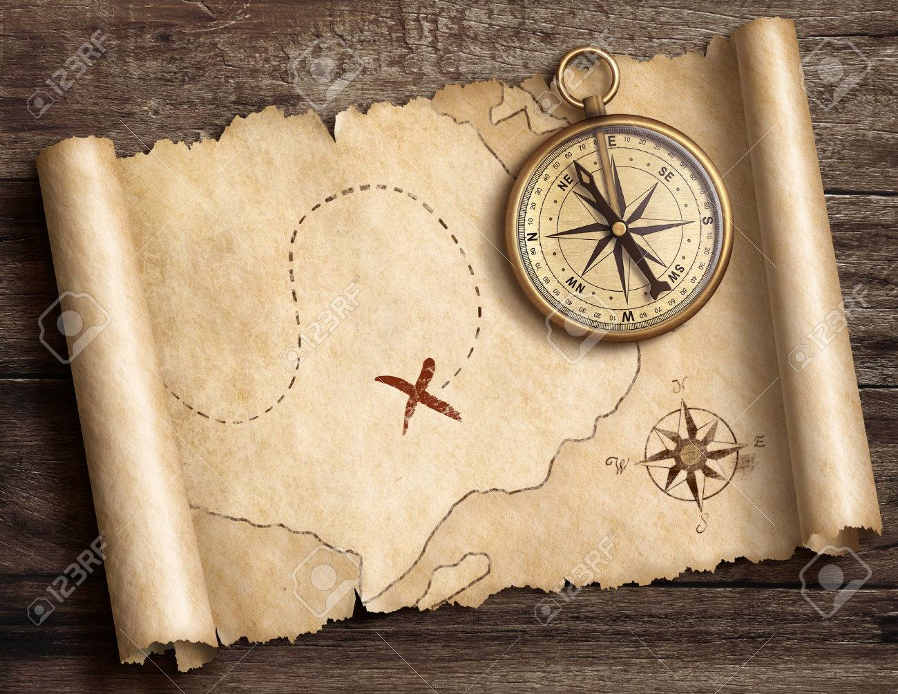 Illustration   Old Brass Nautical Compass On Table With Treasure Map 3d  Illustration