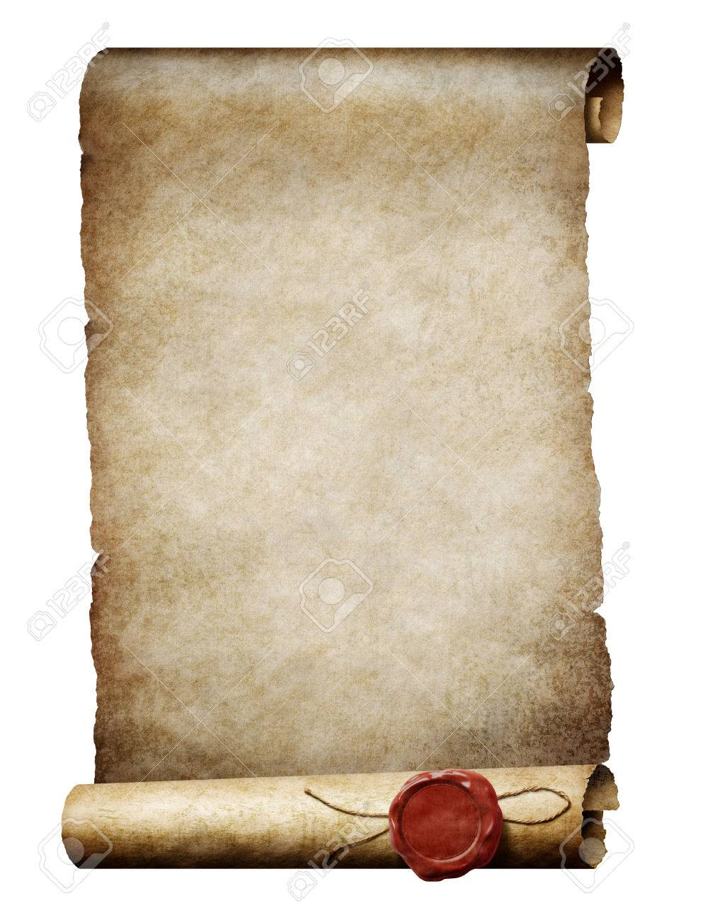 old parchment scroll with wax royal seal stock photo picture and