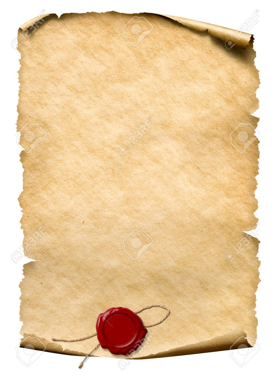 parchment with wax seal isolated on white - 75758043