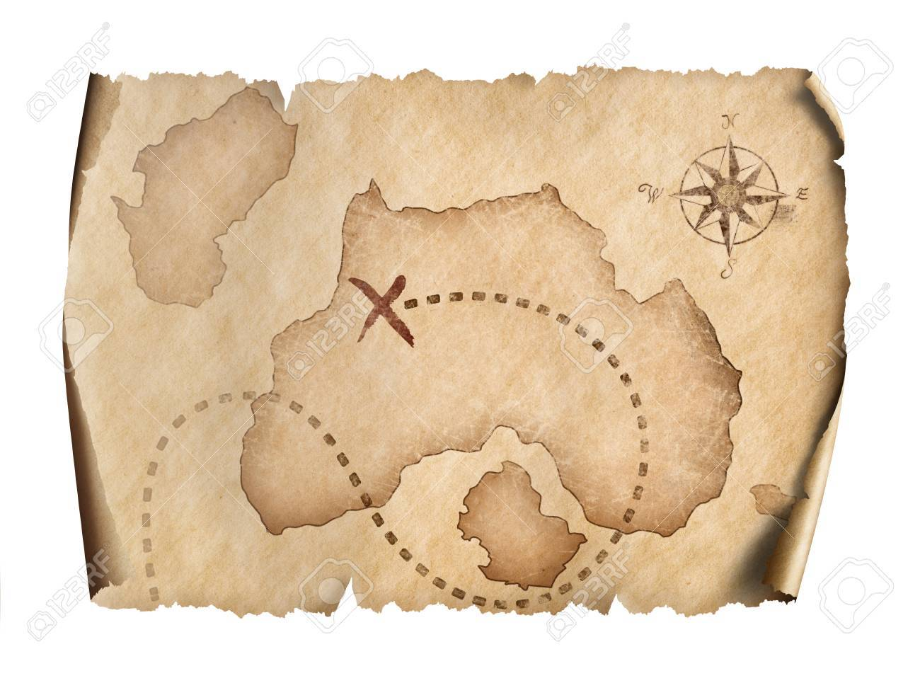 Old Pirates Treasure Scroll Map Isolated On White Stock Photo