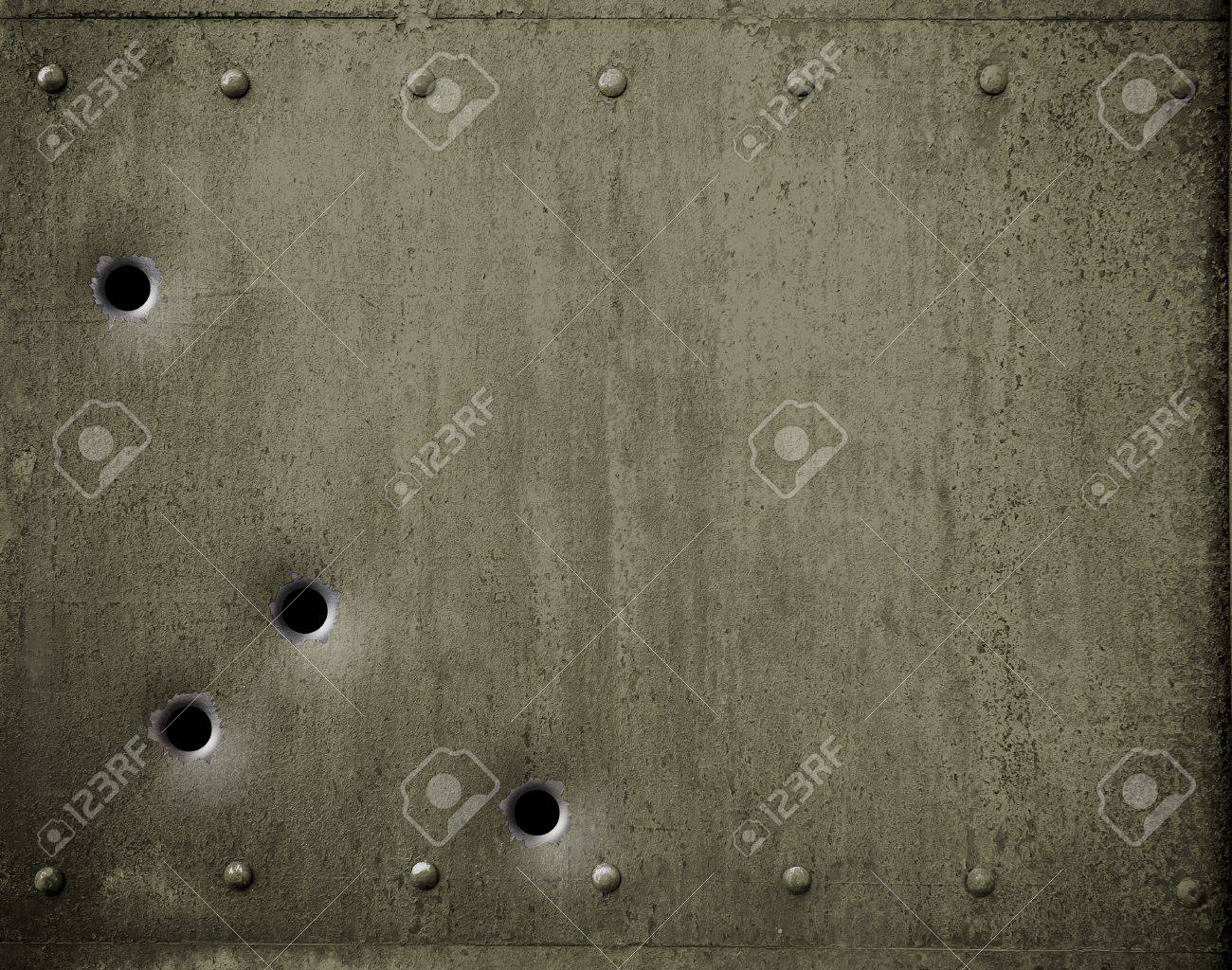 Army Metal Armor With Bullet Holes Background