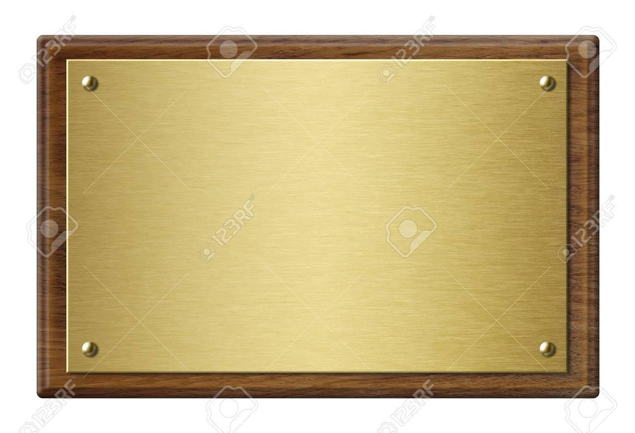 Wood frame with gold metal plaque 3d illustration - 77581024