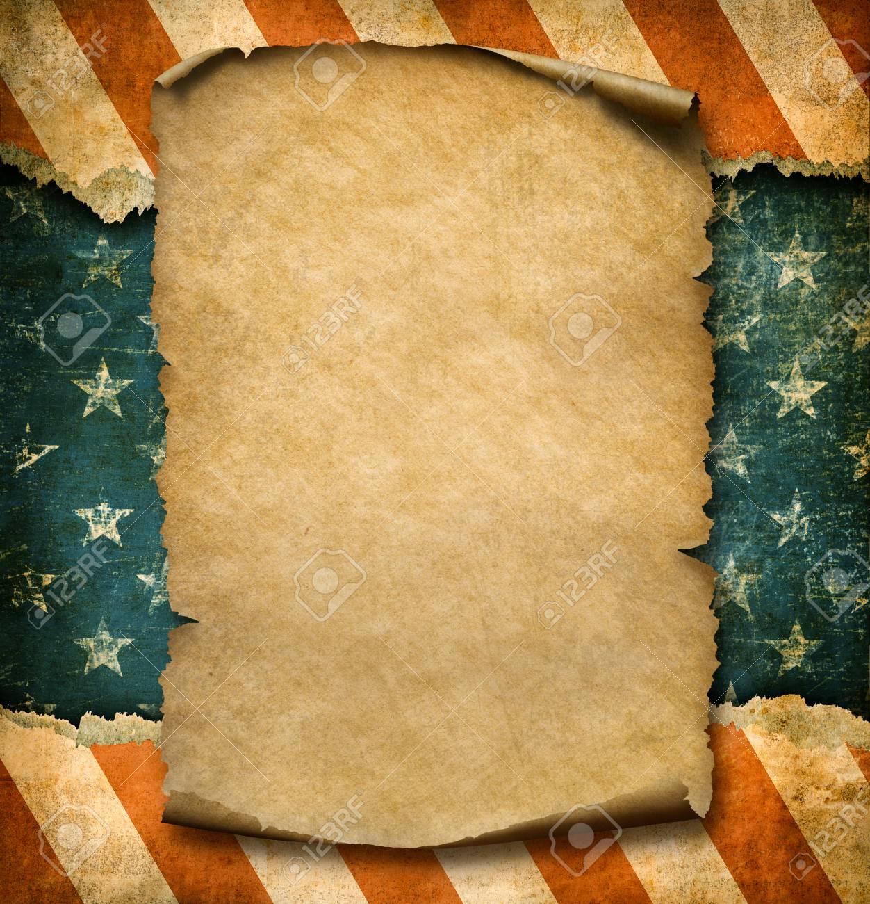 Grunge Leere Papier Deklaration über USA Flagge Unabhängigkeit Tag ...