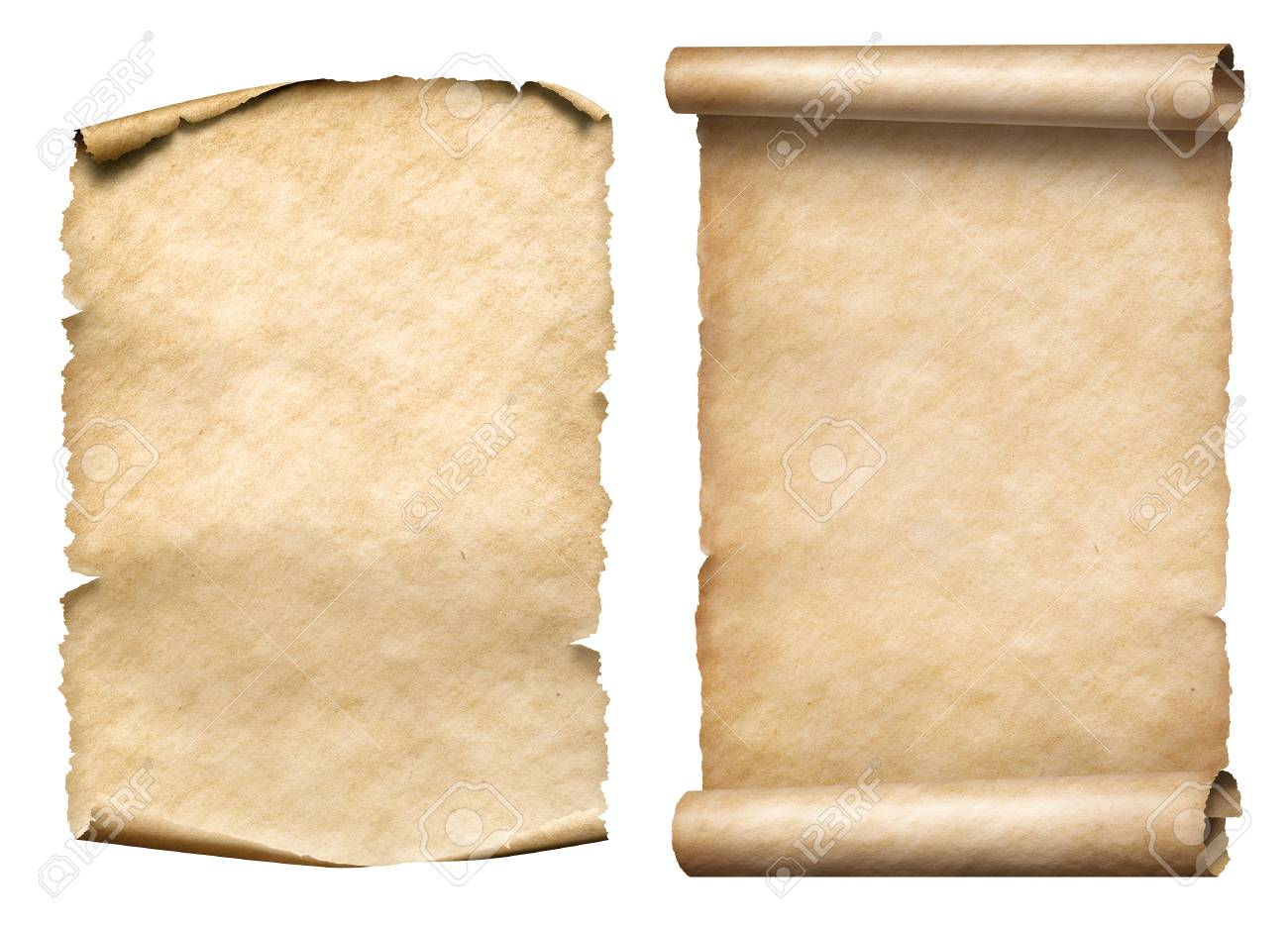 two old paper scrolls or parchments realistic set isolated