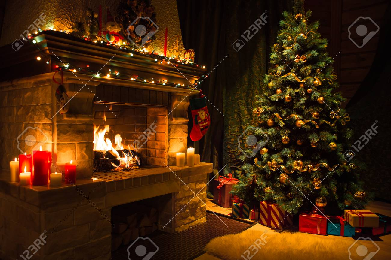 Living room interior with decorated fireplace and christmas tree - 85578504
