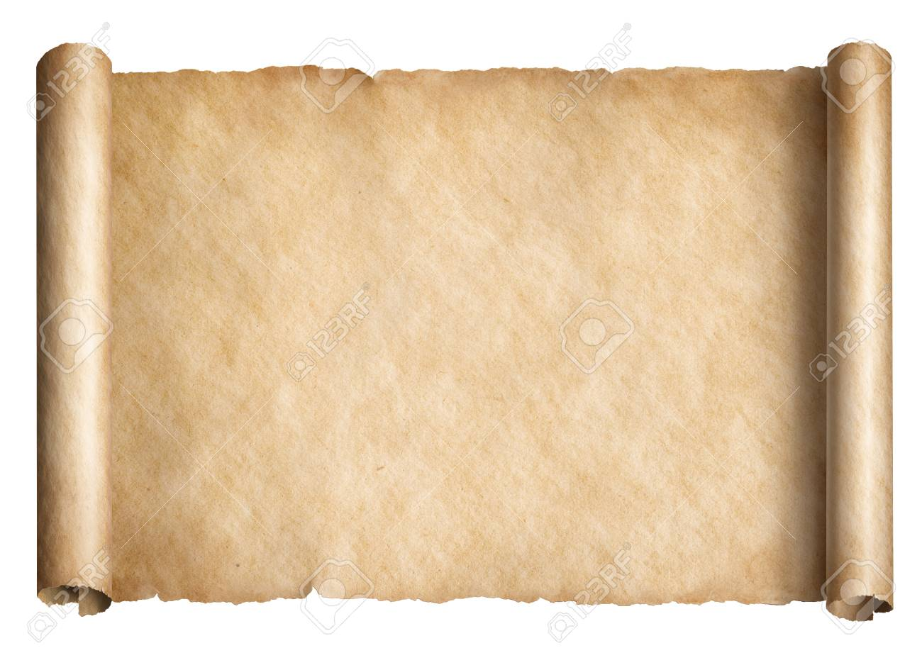 old paper scroll or parchment isolated horizontally oriented stock
