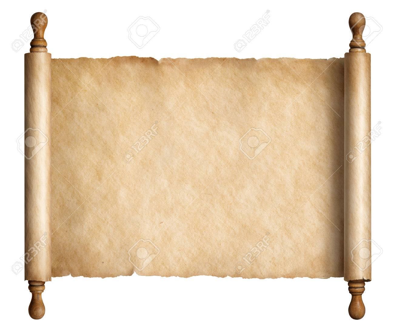 old paper scroll or ancient parchment isolated 3d illustration stock