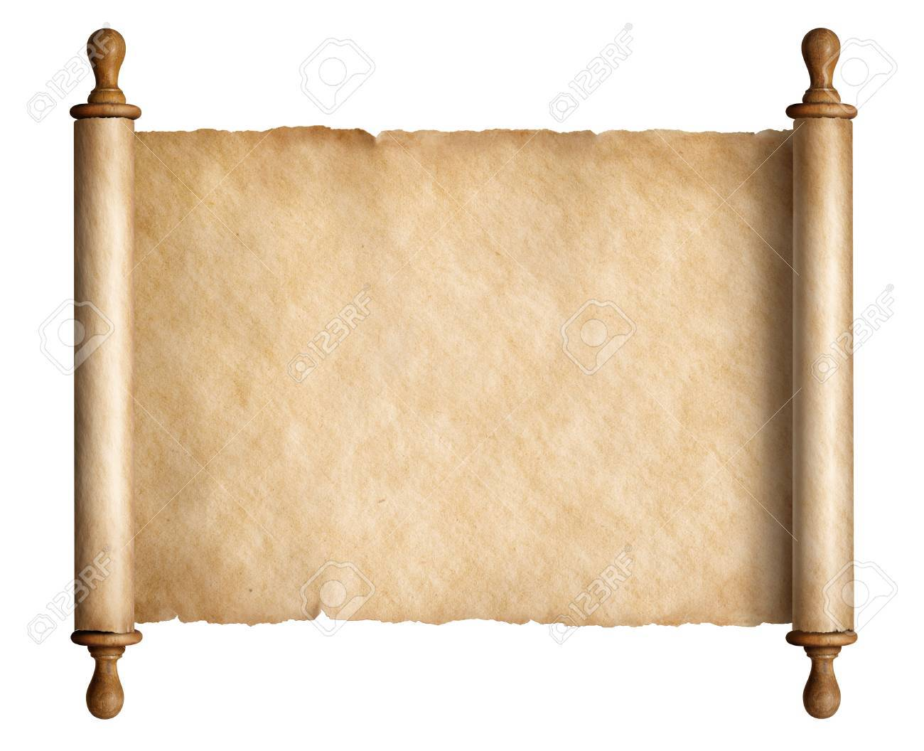 Old scroll parchment with wooden handles isolated 3d illustration - 86948143