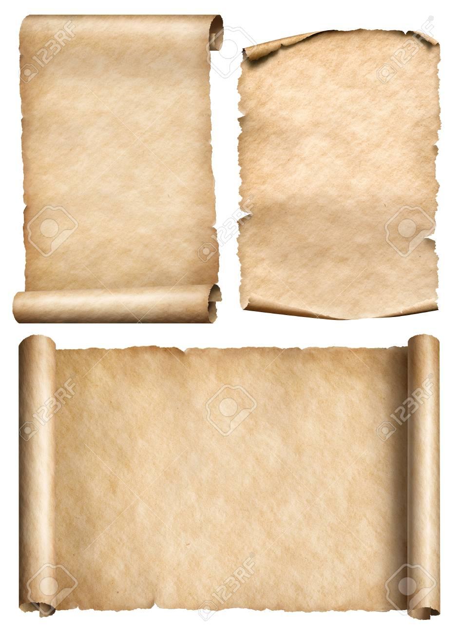 古い紙の巻物や羊皮紙の現実的な 3 D イラストを設定 の写真素材画像